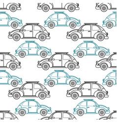 cartoon retro car seamless pattern vector image