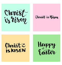 Christ is risen easter lettering set happy vector