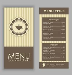 Design a menu for coffee vector image