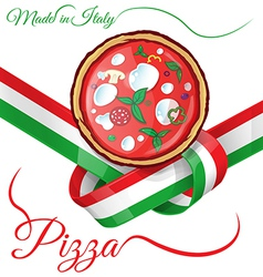 italian pizza on ribbon flag vector image vector image
