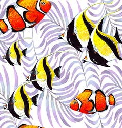 Palm Fish pattern vector image vector image