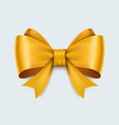 realistic yellow bow isolated on white background vector image