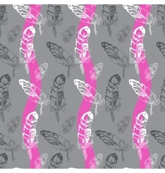 Seamless pattern with feathers on a striped vector image