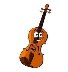Smiling happy wooden violin vector image