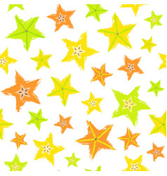Starfruit background painted pattern vector