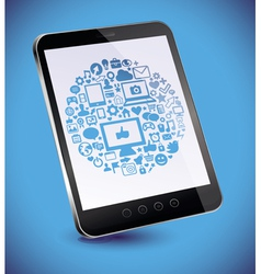tablet pc with social media concept on touchscreen vector image vector image