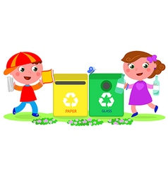 Two cute children recycling vector image vector image