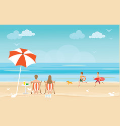 happy family enjoying on beach during vacations vector image