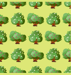 leaves cartoon green trees seamless pattern vector image vector image