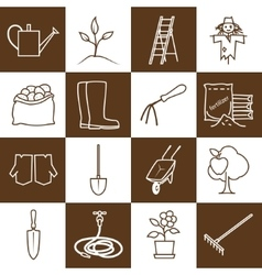 Line Brown Icons Gardening Equipment vector image vector image