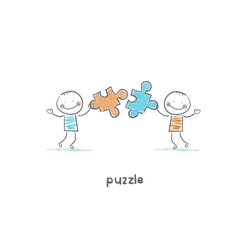 Man and puzzle vector image vector image