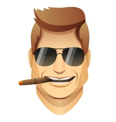smiling male faces with sunglasses and cigar vector image vector image
