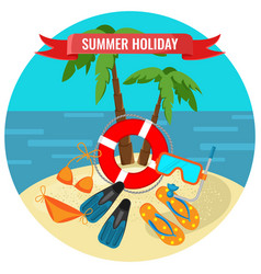 summer holidays poster with tropical island and vector image vector image