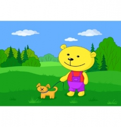 toy teddy bear with dog vector image vector image