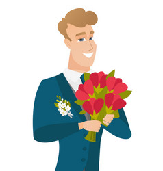young caucasian groom with bridal bouquet vector image vector image
