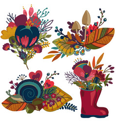 autumn bouquets fall compositions vector image vector image