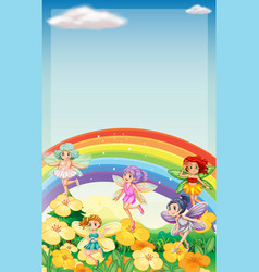 background scene with fairies flying over rainbow vector image