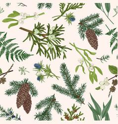 christmas seamless botanical pattern vector image vector image