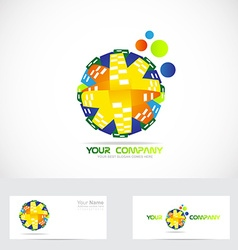 Colored globe logo abstract vector image vector image