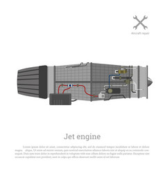 jet engine in a flat style part of the aircraft vector image vector image