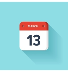 March 13 isometric calendar icon with shadow vector