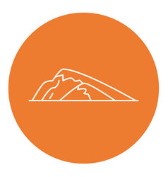 sloping hill icon in thin line style vector image vector image