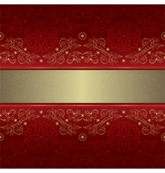 Template gold floral seamless pattern on red vector image