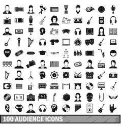 100 audience icons set simple style vector