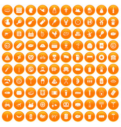100 meat icons set orange vector