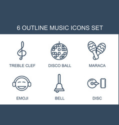 6 music icons vector