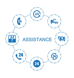 8 assistance icons vector