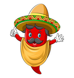 a chili with sombrero dancing vector image