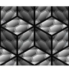 Abstract Striped 3D Hexagons Geometric Seamless vector image