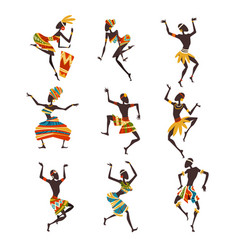 African people dancing folk or ritual dance set vector