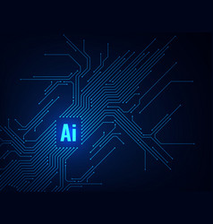 ai chipset circuit board electronic artificial vector image