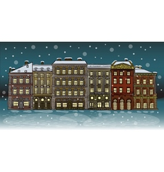 Antique European street Winter Night city landscap vector image