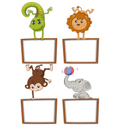 Border templates with cute animals vector