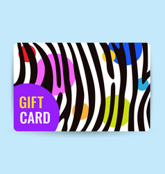 bright card with black and white stripes and color vector image