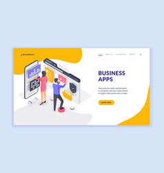 business banner with people browsing modern apps vector image