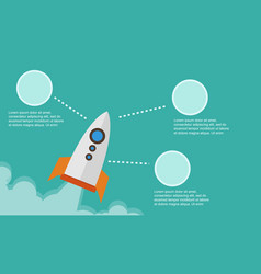 business infographic with rocket style background vector image
