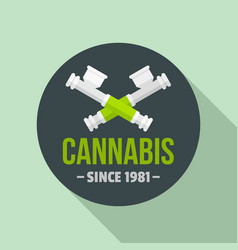 Cannabis smoking pipe logo flat style vector