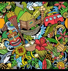 cartoon doodles hawaii seamless pattern vector image