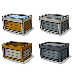 cartoon wooden box icon set vector image