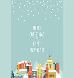 christmas and new year card with winter cityscape vector image