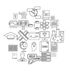 college icons set outline style vector image
