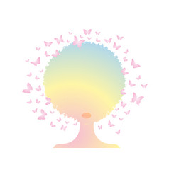 Colorful afro woman curly butterfly decorative vector