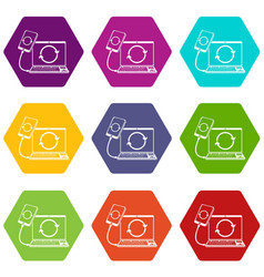 connection smartphone icons set 9 vector image