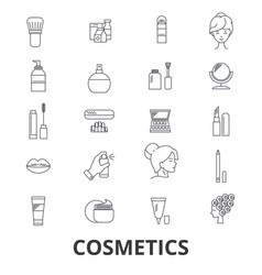 Cosmetics beauty makeup lipstick perfume vector