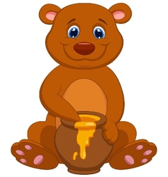 Cute bear cartoon with honey vector image