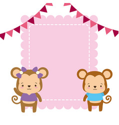 cute couple monkey animals greeting card vector image